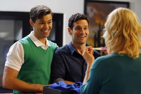 Bryan (Andrew Rannells) and David (Justin Bartha) adjust
