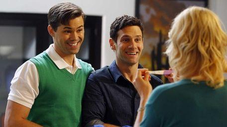 Bryan (Andrew Rannells) and David (Justin Bartha) adjust