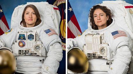 Astronauts Christina Koch and Jessica Meir posing for