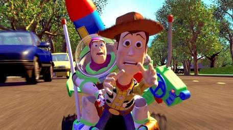 Buzz Lightyear, voiced by Tim Allen and Woody,