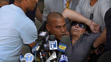 Anna Cuevas faints while at a news conference