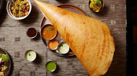Masala dosa is served with a mildly spiced