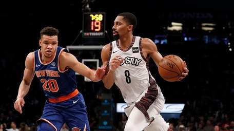 Spencer Dinwiddie #8 of the Brooklyn Nets drives
