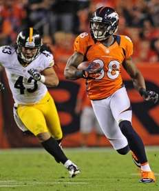 Denver Broncos wide receiver Demaryius Thomas scored on