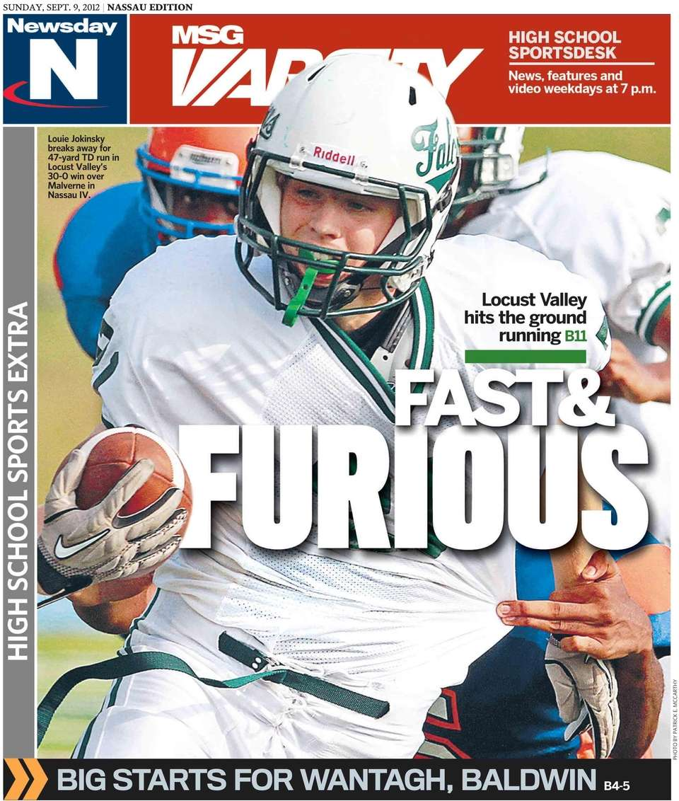 Newsday's high school sports front page for Sunday,