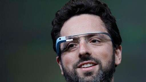 Google co-founder Sergey Brin demonstrates Google's new Glass,