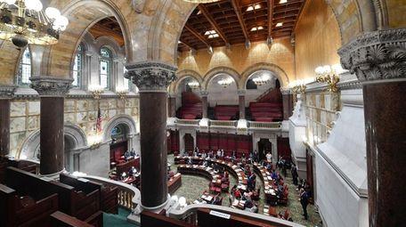 Members of the New York state Senate discuss