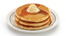 A stack of three buttermilk pancakes at IHOP,