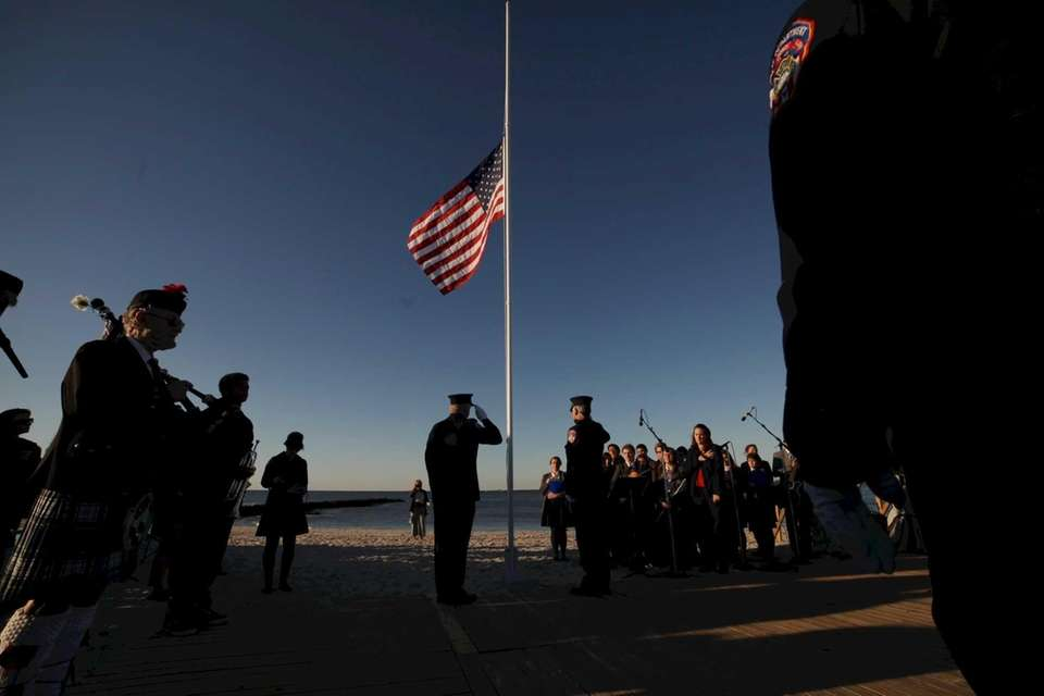 The flag is saluted during a ceremony at