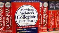 Merriam-Webster's Collegiate Dictionary is displayed in a bookstore