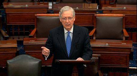 Senate Majority Leader Mitch McConnell of Kentucky speaks