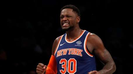 Julius Randle #30 of the Knicks reacts after