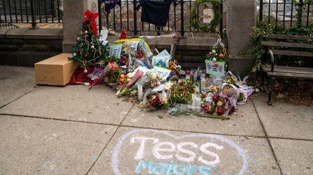 A makeshift memorial for slain Barnard College freshman