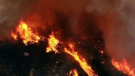 A wildfire burns through timber on the steep