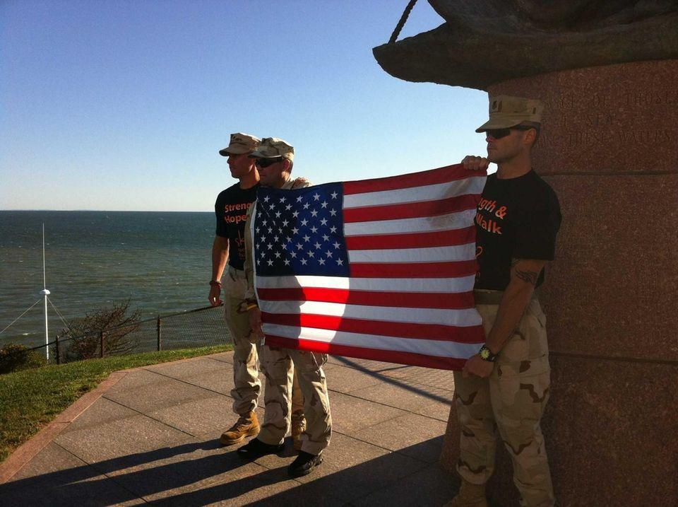 Veterans, from left, Richard Bezouska, of Ohio; Doug
