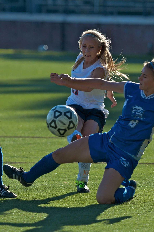 South Side's Christina Klaum shoots the ball past