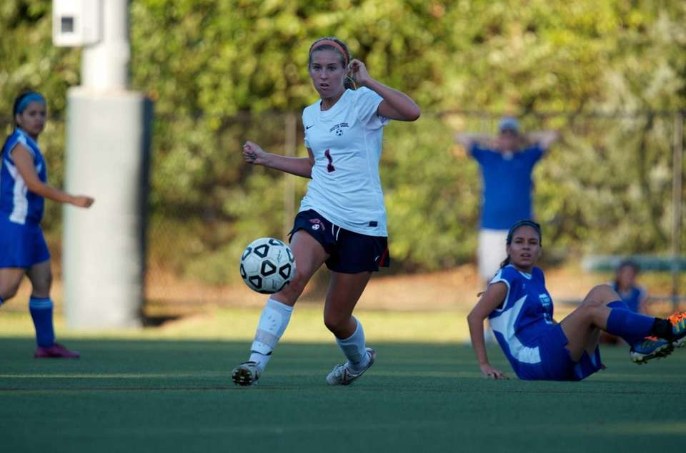 South Side's Katie Ford dribbles the ball upfield