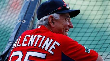 Red Sox manager Bobby Valentine watches his team