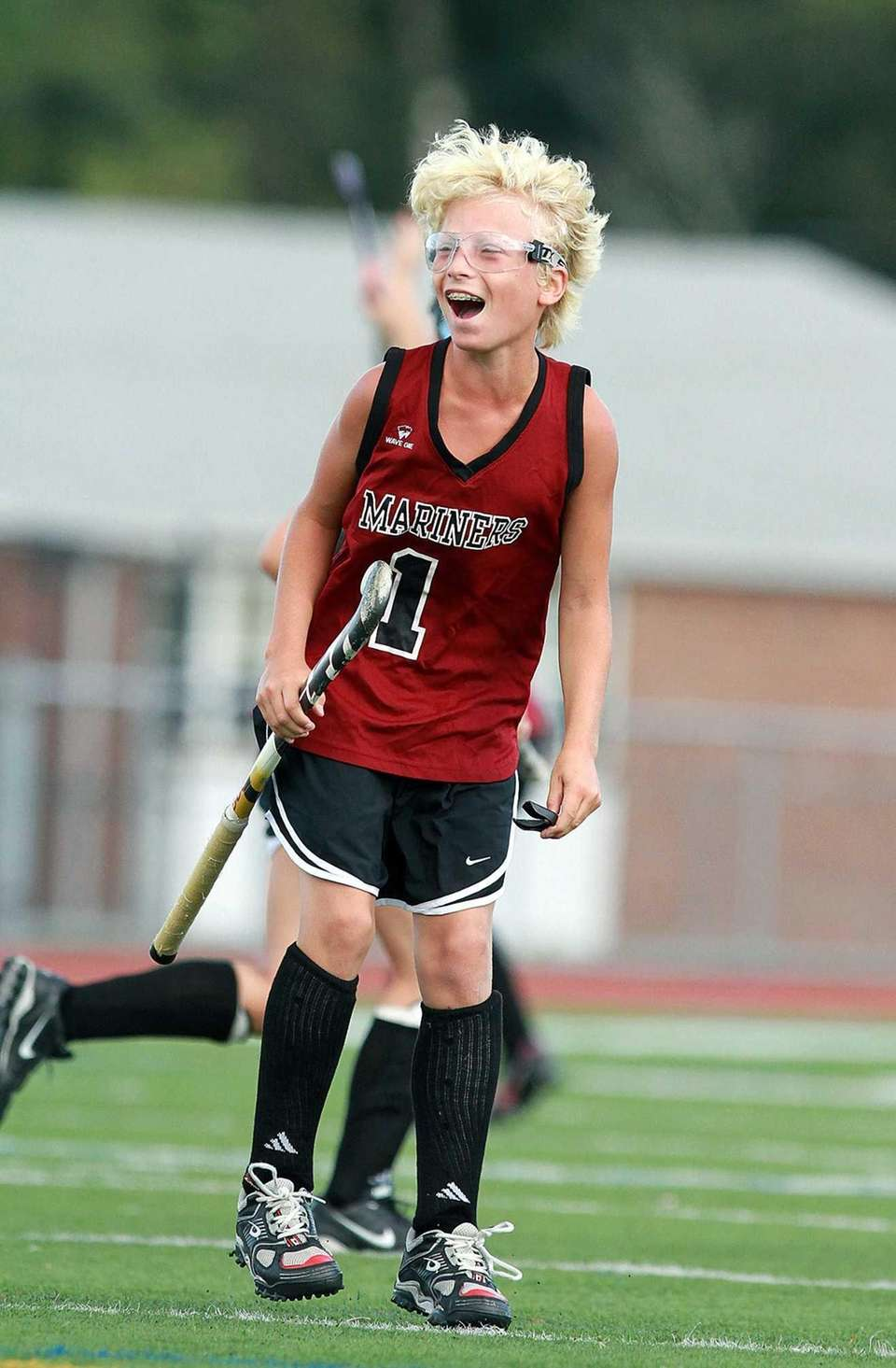Southampton field hockey player Keeling Pilaro celebrates after