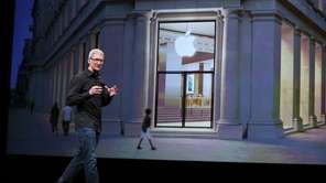 Apple CEO Tim Cook speaks during an Apple