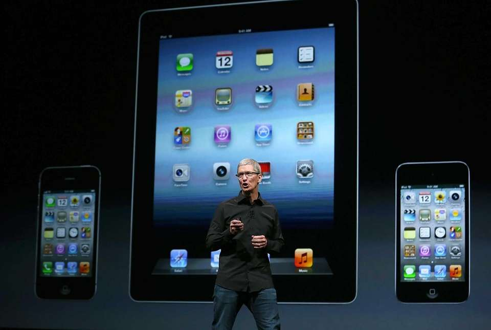 Apple CEO Tim Cook speaks during an