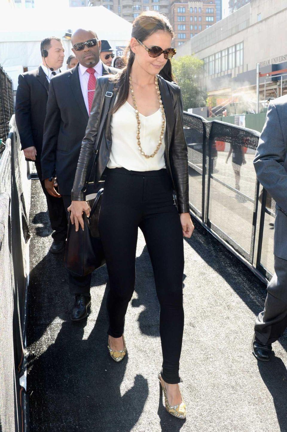 Actress Katie Holmes during Spring 2013 Mercedes-Benz Fashion