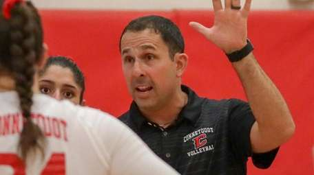 Connetquot's Justin Hertz talks to his team on