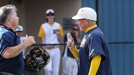 Massapequa coach Tom Sheedy discusses a call with