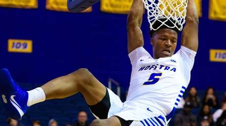 Hofstra Pride guard Eli Pemberton hangs on after