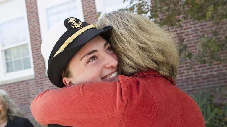 Cadet Shelby Pickerell, 16 from Southold, gets a