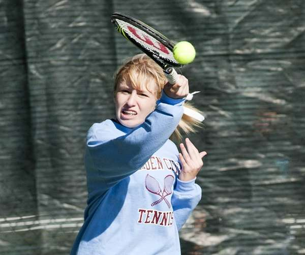 Garden City's Morgan Herrmann hits a forehand during