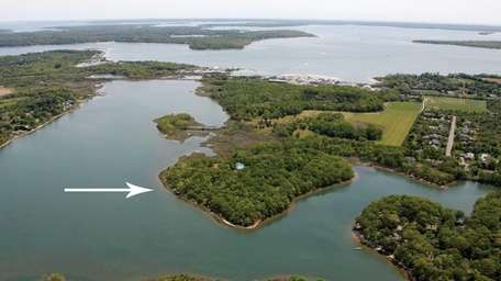 An aerial view of the island property at