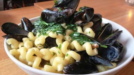 At Blue Canoe in Greenport, cavatappi pasta is
