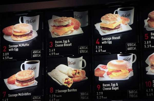 Items on the breakfast menu, including the calories,