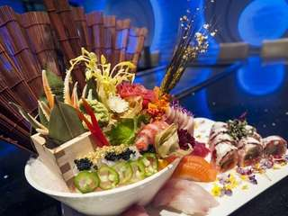 A sushi and sashimi platter prepared by Kashi