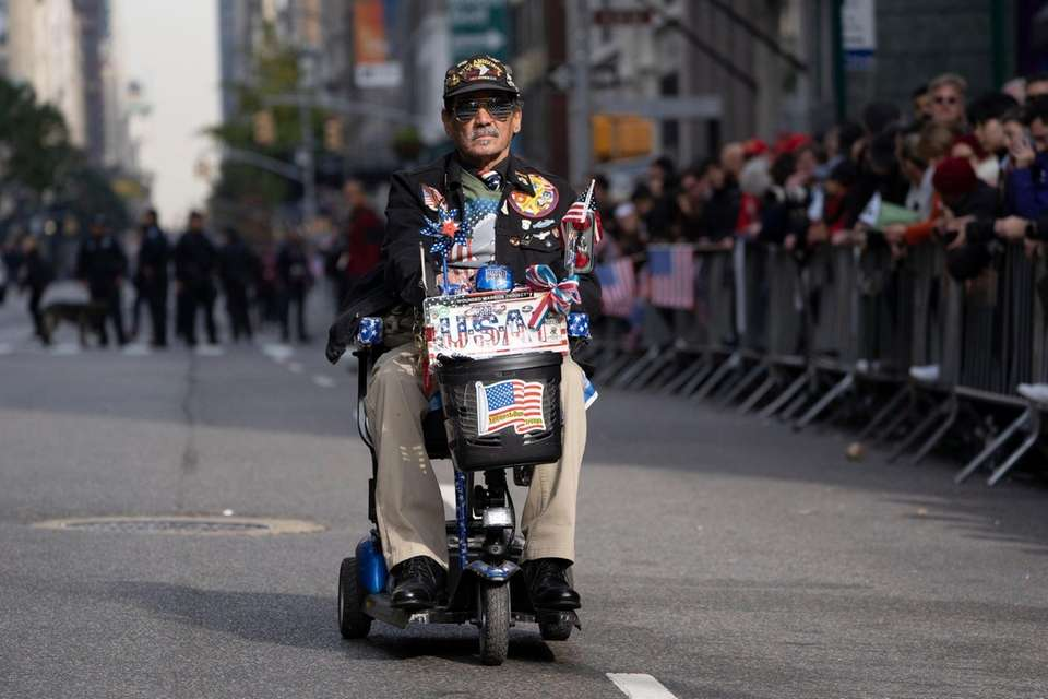 A veteran rides in the New York City
