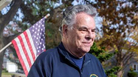 Congressman Peter King speaks outside his home on