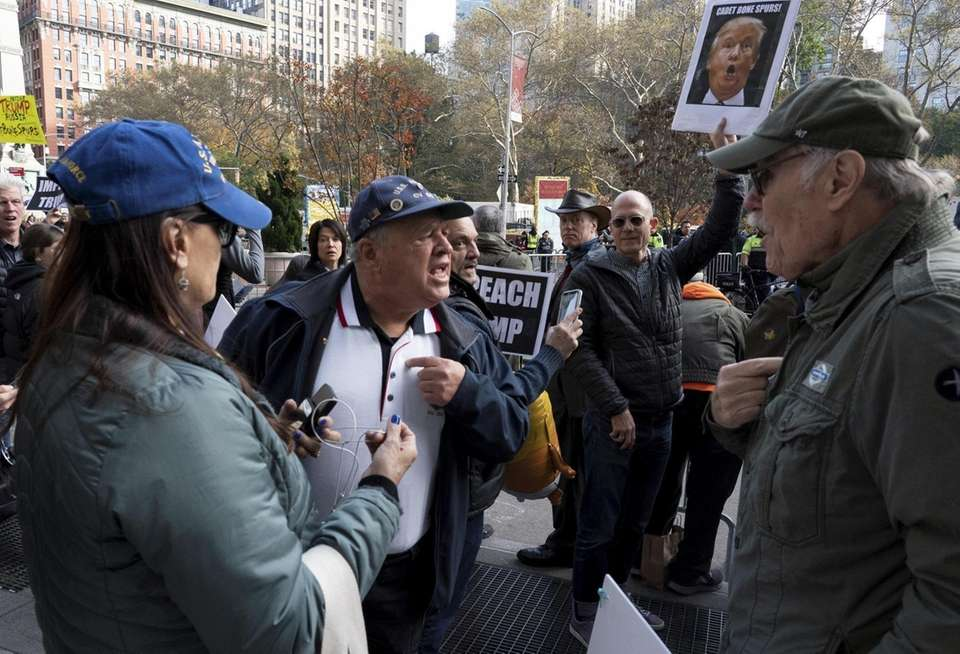 Pro and anti-Trump veterans argue near Madison Square