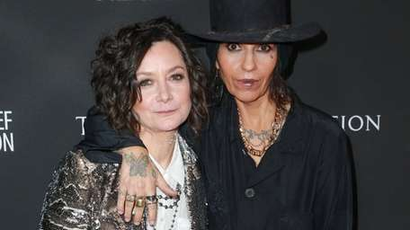 Sara Gilbert, left, and Linda Perry attend the