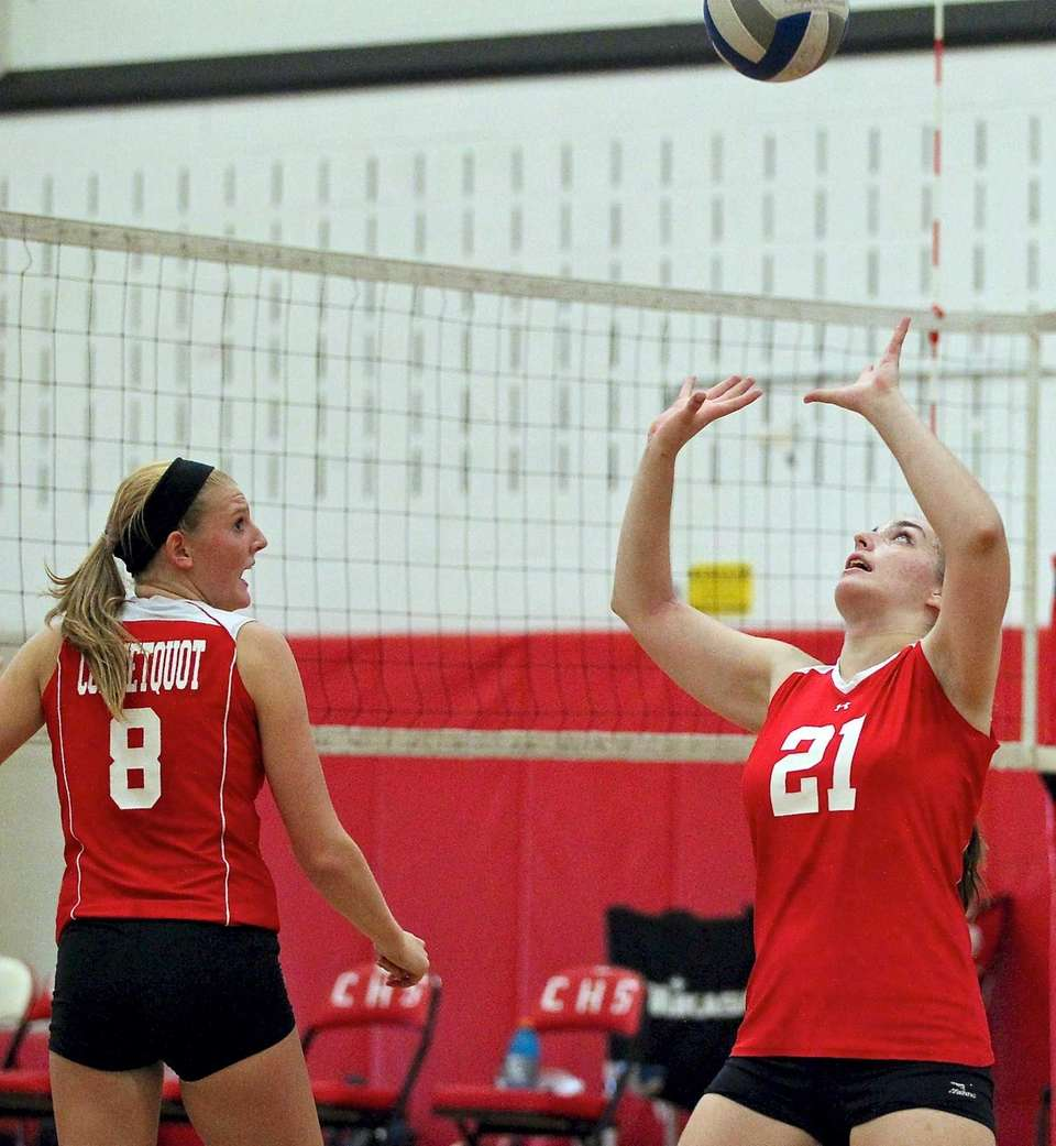 Connetquot's Olivia Schoeller sets the ball to Katie