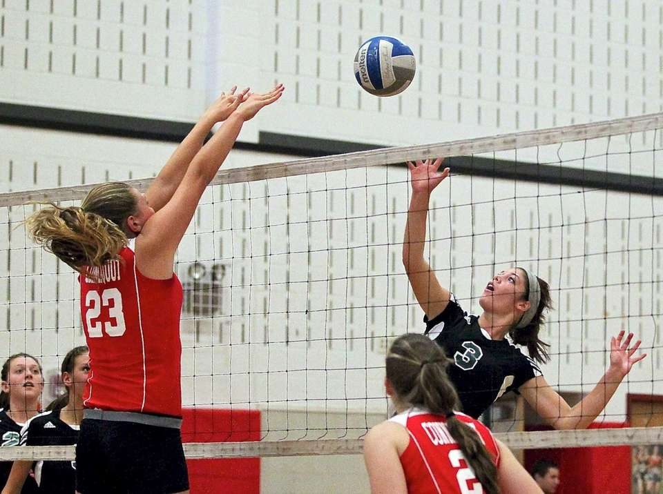 Connetquot's Katie Von Kampen tries to block the