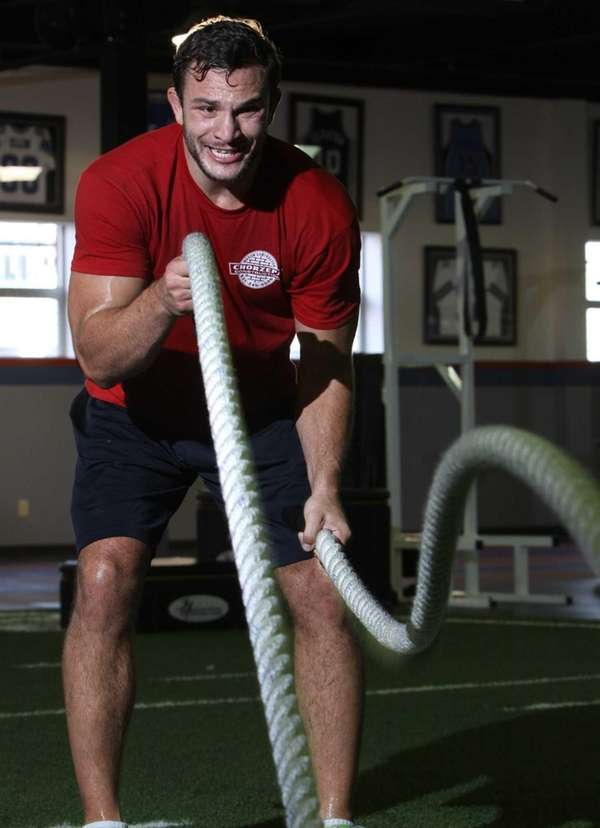 Gian Villante of Levittown uses ropes during a