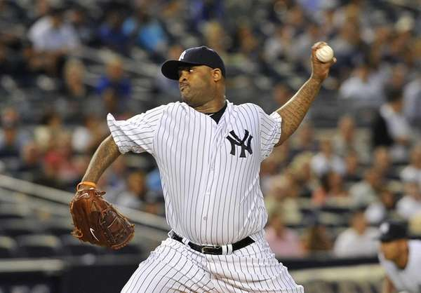 CC Sabathia pitching in a game against the