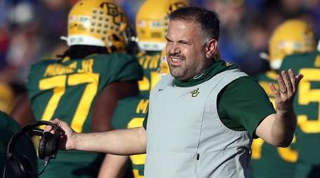 Baylor coach Matt Rhule reacts on the sidelines