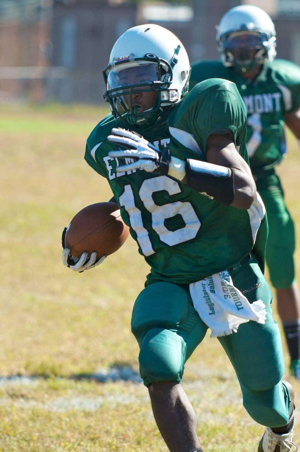 Elmont wide receiver Paul Jean breaks past the