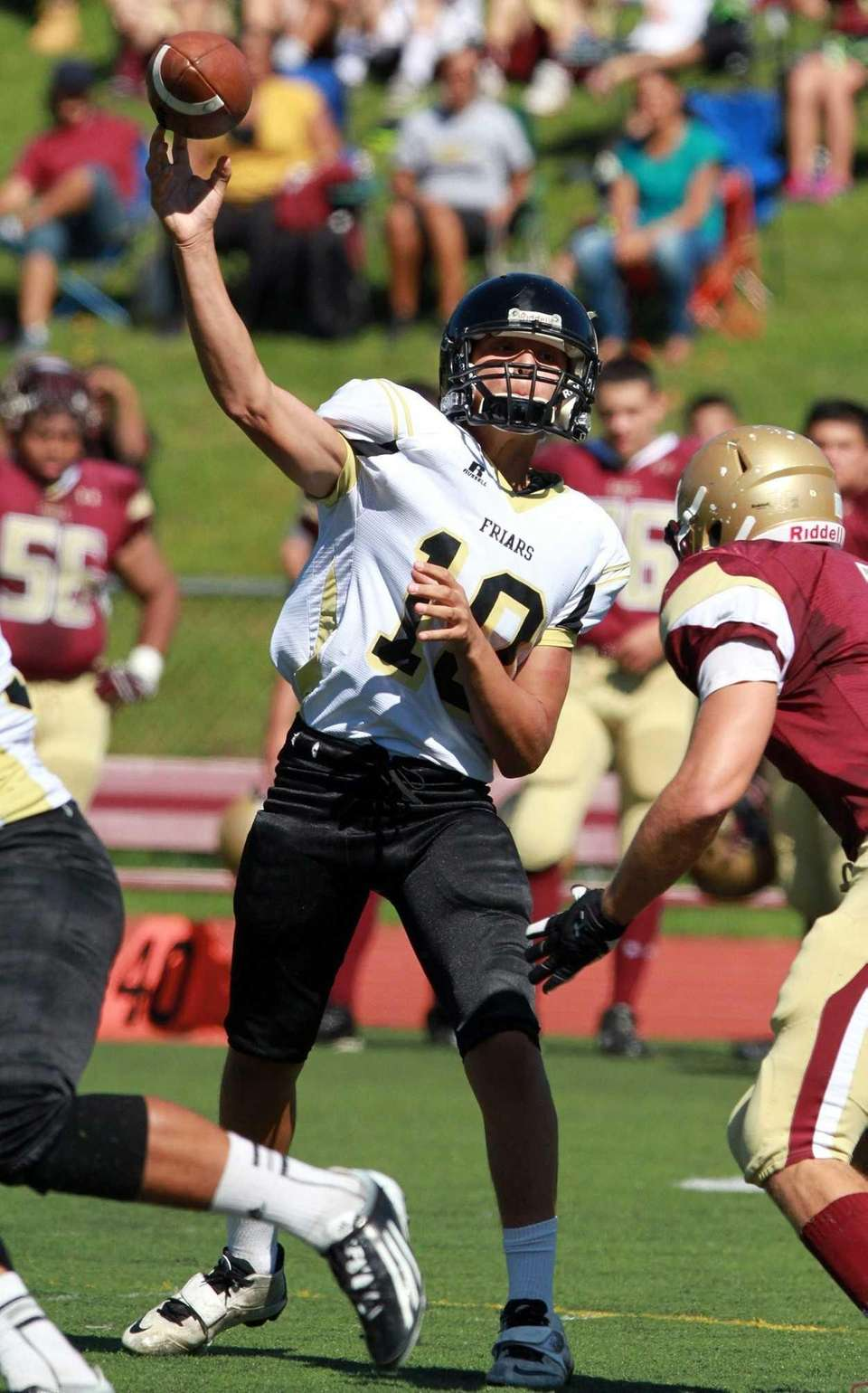 St. Anthony's quarterback Dominick Calistro throws a sideline