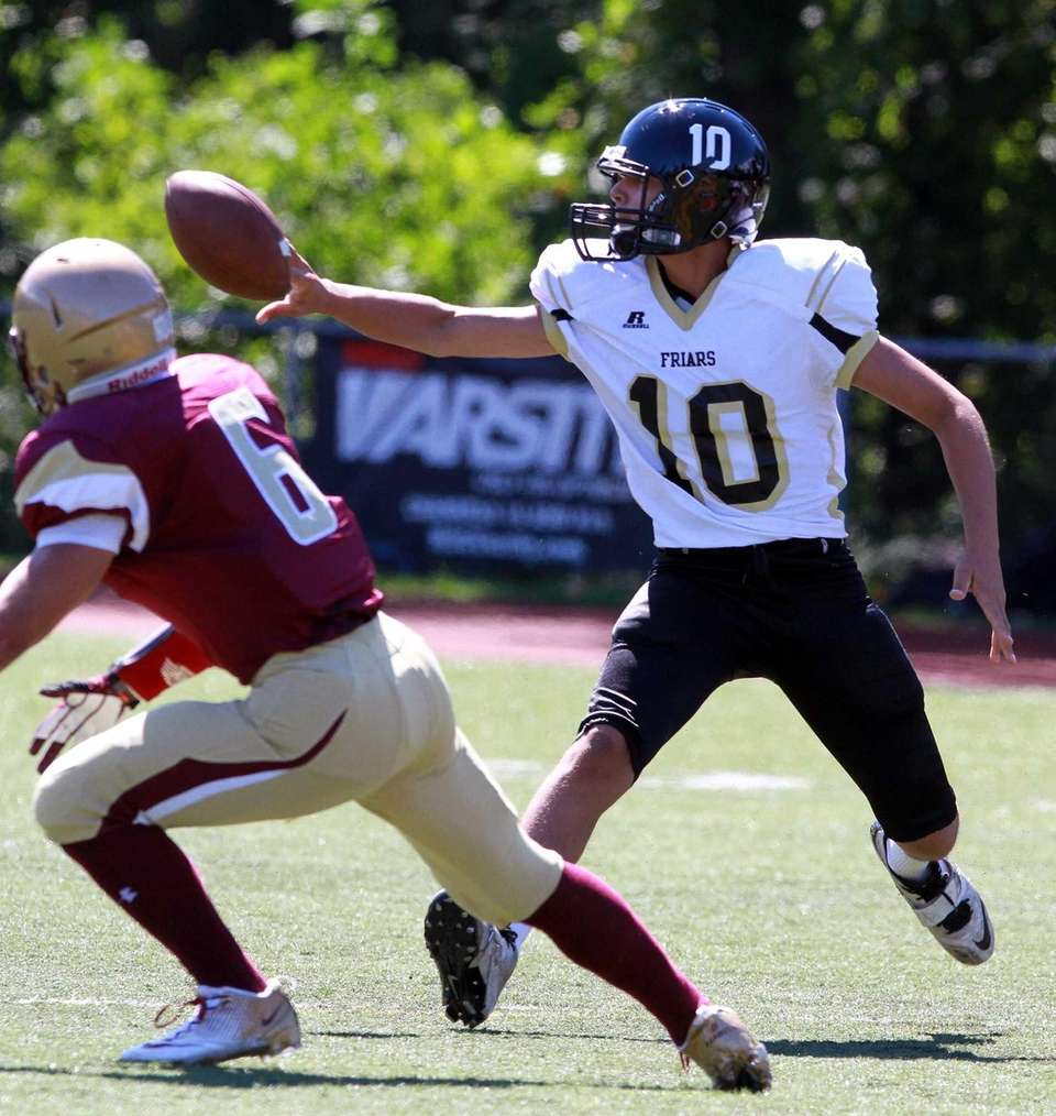 St. Anthony's quarterback Dominick Calistro throws a shovel