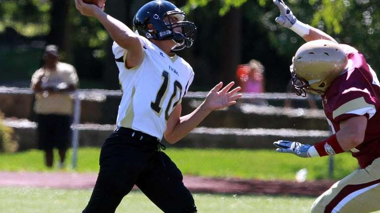 St. Anthony's QB Dominick Calistro throws a sideline