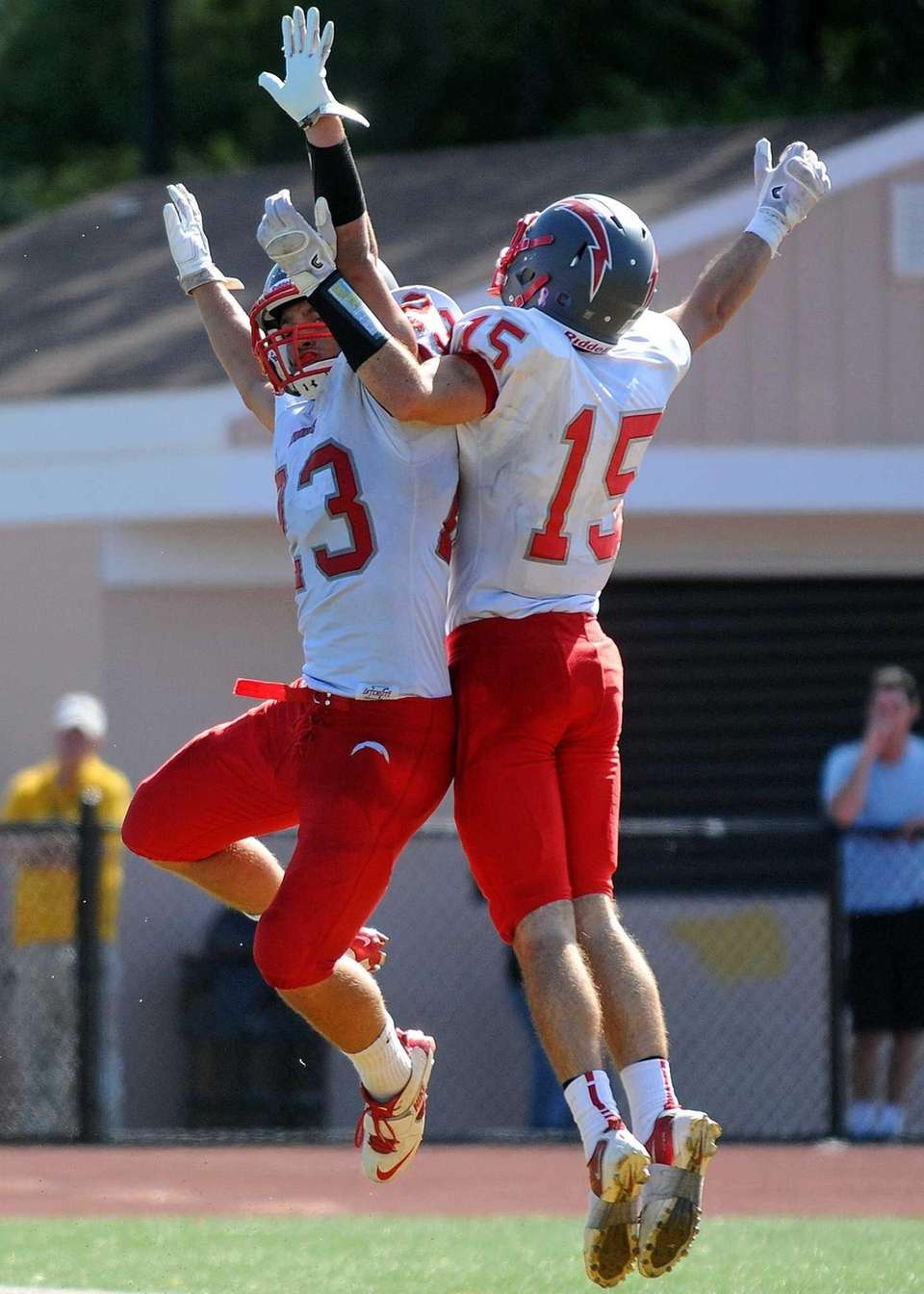 Connnetquot's Ryan Renfroe, left, celebrates with teammate James