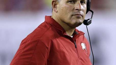 Tampa Bay Buccaneers head coach Greg Schiano watches